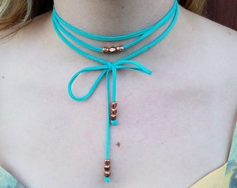 Leather Wrap Lariat Necklace