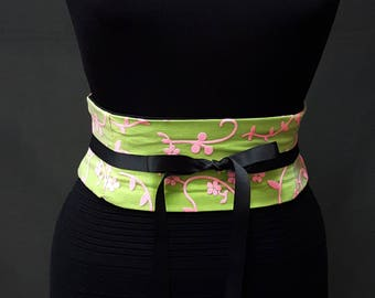 Corset Neon Lime and Hot Pink Floral Overlay Lace Up Obi Belt Any Size