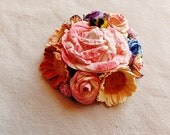 Pink cream apricot blue purple daisy mix little bee Roses Handmade millinery flower corsage hair bow supply