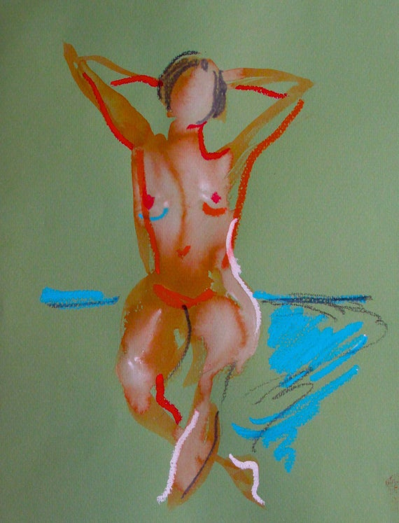 Nude painting- Original watercolor painting of Nude #1374 by Gretchen Kelly