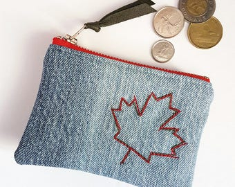 CANADA150. Maple Leaf. Denim Change Purse. Canada. Upcycled Denim. Ombre Denim. Recycled Jean Pouch. Leather Coin Purse. Ready To Ship.