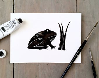 Frederic Frog - Original Contemporary 4x6 Watercolour Animal Painting - Black and White Art - by Natasha Newton