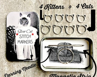 Notions tin, Cat Knitting Kit, Tool kit for knitters, Cat Stitch markers