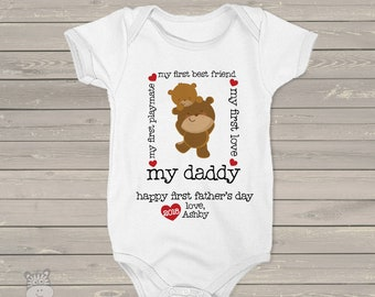 First Father's Day bodysuit or shirt -  my daddy my best friend shirt or bodysuit for baby - best first Father's Day gift from baby  MDF-094