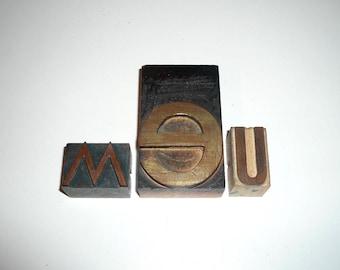 Wood Letterpress Printing blocks Letters We or Me Collectible Detash Home Decor