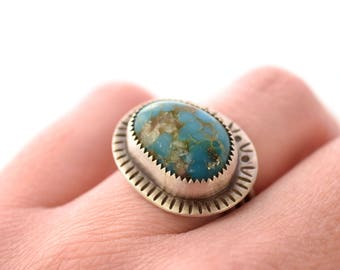 Turquoise Ring, Hand Stamped Oxidized Silver Ring, Sterling Silver Ring with Stamped Border, Ring Size 8, Turquoise and Silver Jewelry