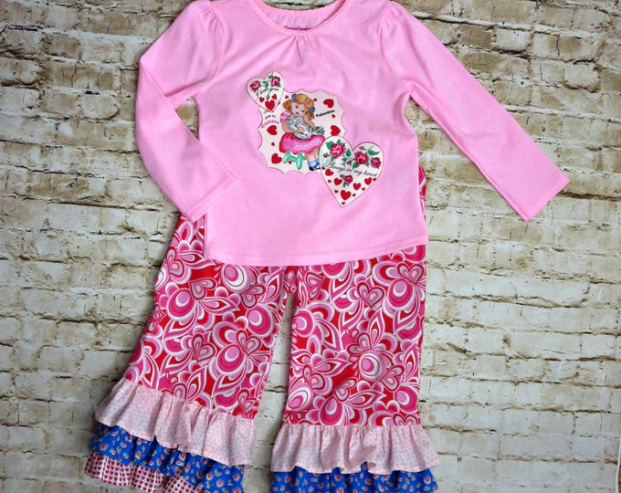 Valentine's Day Outfit - Little Girls Outfit - Ruffle Pants Set - Ruffle Pants outfit - Toddler Girl Outfit - READY TO SHIP - 2t only