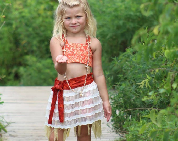 Moana Costume - Moana Dress - Moana Toddler Costume - Moana Birthday Outfit - Moana Grass Skirt - Seashell Necklace - 12 months to 8 years