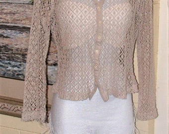 Vintage Shirt - Taupe Beige Crochet  - Long Sleeve Collared Blouse - Jacket Style Top - ECRU