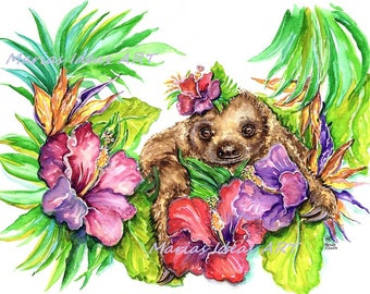 Sloth baby, Sloth in flowers, Hibiscus flowers, Two toed Sloth print,  two toed Sloth, Funny sloth art, Marias Ideas, Marias Ideas Art