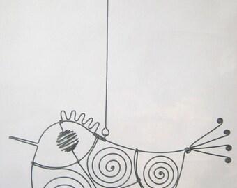 Colorless -Eyed Wire Bird Sculpture