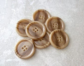 Brown Coat Buttons, 32mm 1-1/4 inch - Marbled Caramel Fudge Brown Plastic Buttons - 7 VTG NOS Faux Wood Grain Glossy Sewing Buttons PL113 bb