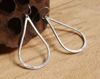 Silver Teardrop Dangle Earrings - Fine Silver - Boho Chic Jewelry