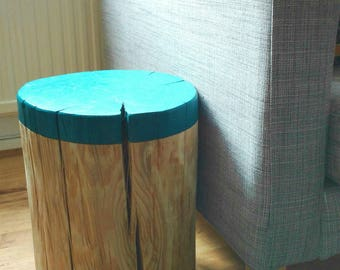 LOG SIDE TABLE - sofa table - coffee table - bedside table - dipped effect - choose your colour - custom - natural wood - log stool - stump