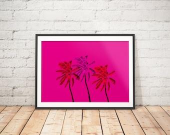 Palm Tree Art Prints, Tropical Printable, Palm Tree Wall Decor, Palm Leaf Printable Wall Art