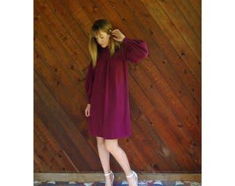 Maroon Silk Mini l/s Shift Dress - Vintage 70s - XS/S