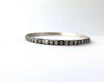 patterned bangle, sterling silver bracelet , stacking bracelet, medium sized bangle bracelet, ready to ship