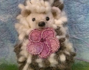 Needle-Felted Hedgehog with Removable Flower Pin
