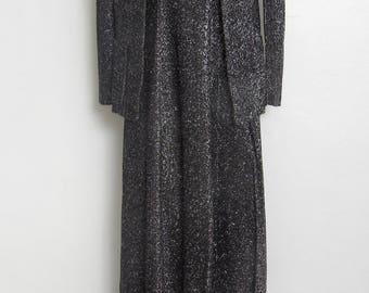 1970s Disco Dress and Jacket Set / Black & Silver Metallic Thread Halter Maxi Dress and Blazer / Vintage 70s Mindy Malone 2 Pc.