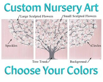 Girl Nursery Wall Art Tree Painting on Large Canvas Triptych, Custom Art, Choose Your Colors - 50x20