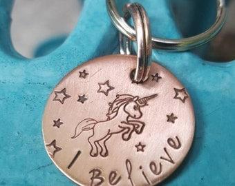 Unicorns I Believe, copper keychain, Whimsical keychain, BFF gift, Graduation gift, Inspirational Gift, Believe in Unicorns