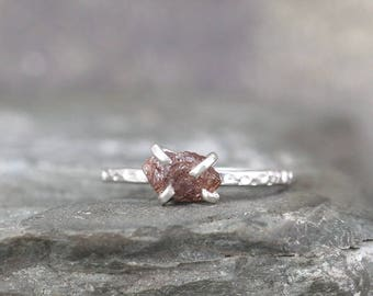 1 Carat Rough Diamond Ring - Brown Tone Raw Uncut Diamond - Hammered Texture Sterling Silver Gemstone Ring - Engagement Ring - Stacking Ring
