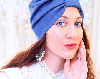 Denim Turban Hat - Hair Turbans for Women - Blue Jean Denim Hairwrap - Women's Full Turban - Medium Blue Wash, Indigo, or Dark Denim