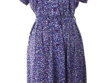 Purple & Blue Smartsetter 50s Vintage Dress - Atomic Print - Original Belt - Sz L - Hey Viv