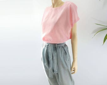 Minimalist Top Loose Fit Top Minimalist Tshirt 80s Pink Top 80s Crew Neck Top Loose Fit Blouse Pink Shirt xs, s, m