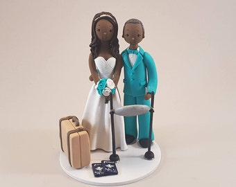 Bride & Groom with a Steel Pan and Suitcase Custom Handmade Wedding Cake Topper