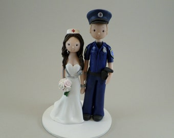 Firefighter & Nurse Custom Made Wedding Cake Topper - reserved for smcdonalf42291