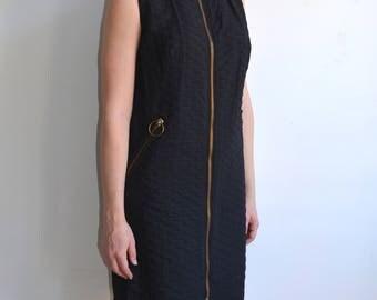 Vintage 60's Mod O Ring Zipper Black Shift Dress/ Oversized Exposed ZIpper Dress/ Twiggy/ Medium
