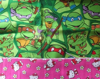 Fabric Lot Hello Kitty TMNT Ninja Turtles Gothic Roses FQ Fat Quarter Remnant Scrap Lot Licensed Novelty Flannel Fabric