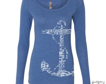 Womens ANCHOR Long Sleeve Scoop Neck - Tri Blend t shirt [+Colors] S M L XL XXL