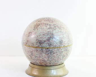 Mid Century Cram's Moon Globe with Metal Stand / Vintage Moon Globe / 10.5 Inch Desktop Moon Globe / Vintage Lunar Globe With Metal Stand