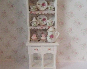 Dollhouse Filled Hutch,Dollshouse  Hutch, Miniature hutch, Tea for Two, Rose theme.  . Twelfh scale dollhouse miniature