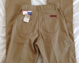 1970s / 1980s straight leg, high waisted khakis, 26 inch waist, LORD ISAACS brand, deadstock, brand new with tags, made in the USA