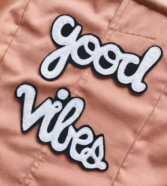 Good Vibes Patch Cursive Font Sew On Badge Applique Embellishment Black and White Denim Jacket Patch