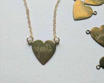 Custom engraved heart necklaces, food and animals