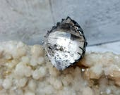 Cear Tibetan Quartz Ring in Sterling Silver size 6.5
