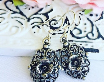 SALE 20% Off Victorian Earrings - Silver - Rose Jewelry - Romantic - VICTORIAN ROSE