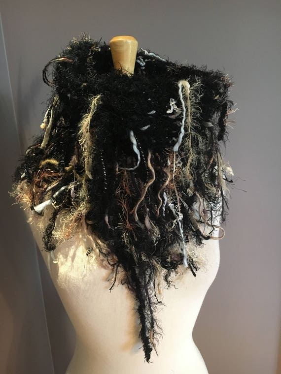 Hand knit Split Shag Cowl, Couture Black cowl, Fringed Design with high neck, 'Turtle' colorblend, funky scarves, boho chic, steampunk