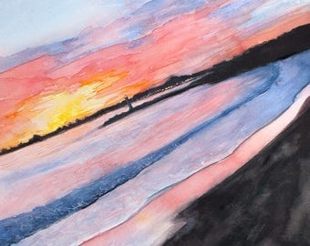 Sant Cruz Sunset Watercolor Painting • 8x10 print, 11x14 ready to frame