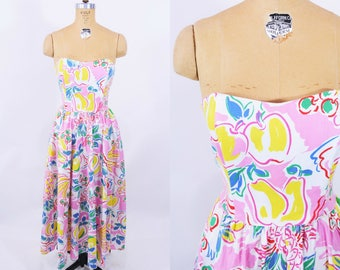 "1980s novelty dress | 80s does 50s pink fruit salad novelty print strapless dress | vintage 80s dress | W 24""+"