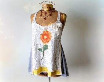 Women's Lace Top Shabby Chic Style Floral Boho Tank Wearable Art Gypsy Clothing Babydoll Top Summer Bohemian Country Clothes Medium 'KLARA'