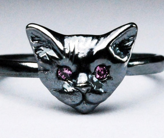 Black Sterling Silver Kitty Cat Ring with Ruby or Pink Sapphire Eyes