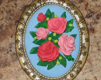 Pink Rose Vintage Style Antique Bronze Brooch Lapel Pin Victorian Rose Bouquet