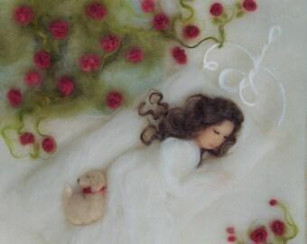 Briar Rose Sleeping Beauty Print of Wool Painting 8 by 10