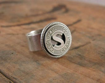 Transit Token Jewelry - Coin Jewelry - Coin Ring - St. Paul City Railway Co. of St. Paul, Minnesota - Initial S Token Ring