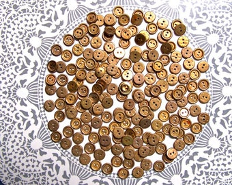 Vintage Buttons, 190, Brass Buttons, metal, Button lot, Metallic, Sewing supply